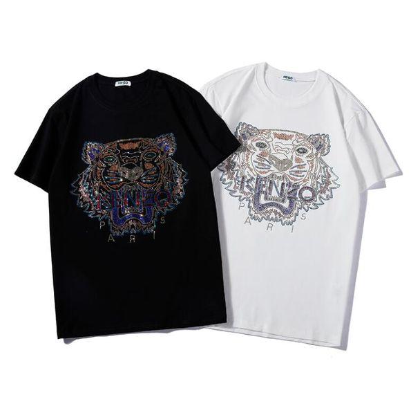 Yaz Marka T-shirt Erkekler Için T Shirt Ile Kaplan Kafası Baskı Nefes Kısa Kollu Erkek Tee Gömlek Moda Kadın S-2XL Tops 2 Renkler