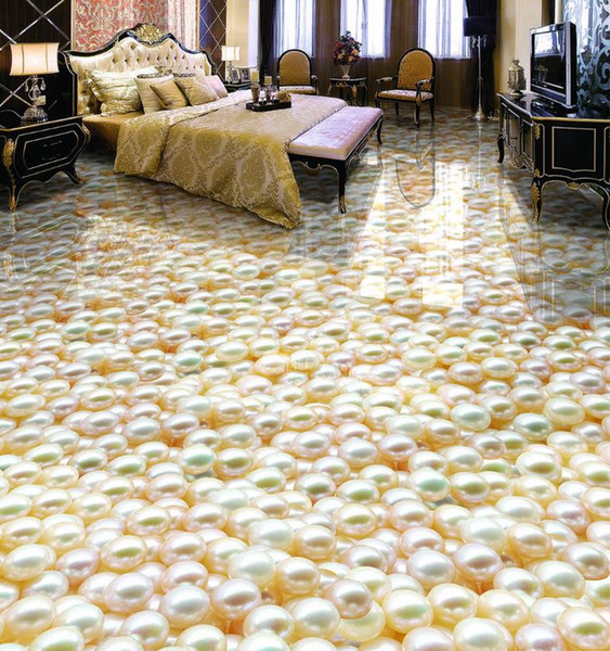 custom 3d flooring pearl self adhesive wallpaper 3d floor tiles waterproof wallpaper painting photo wall mural