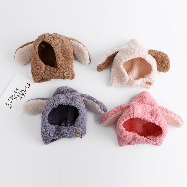 New knit hat winter outdoor cold warm hat cartoon plush head cap rabbit ear baby hat