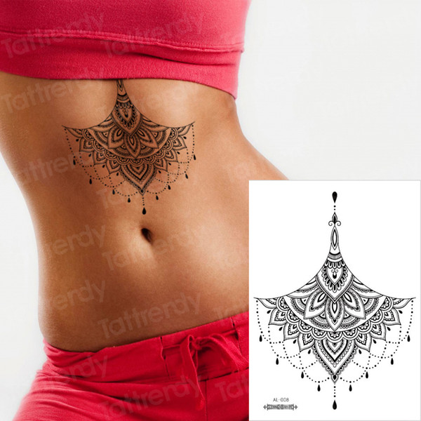 Mehndi Henna Aufkleber Bikini Tattoo Brust Mandala Lotus temporäre Tätowierung Aufkleber schwarzer Spitze gefälschte und Body Art sexy Araber