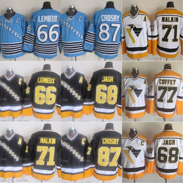 66 Mario Lemieux Pittsburgh Penguins Hockey su ghiaccio Jersey 87 Crosby 68 Jagr 71 Malkin 77 Coffey 35 BARRASSO Nome cucitoNumber Hockey Jersey