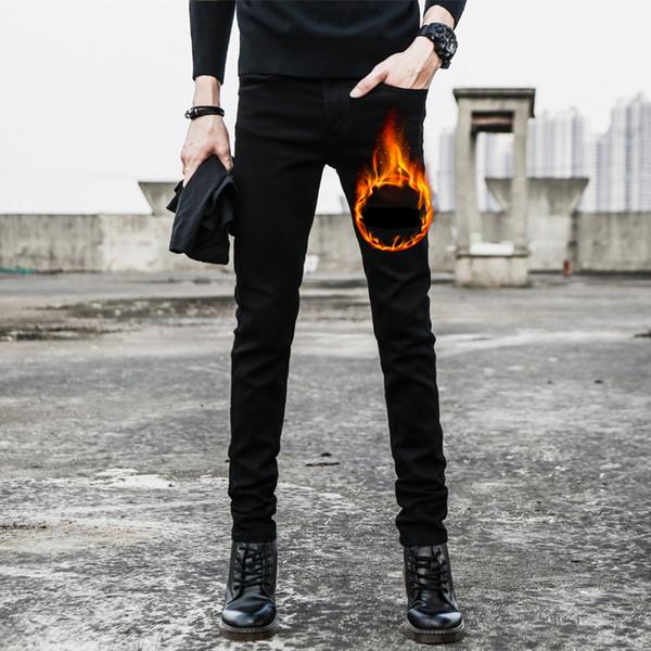 Polaire d'hiver Nouveaux Hommes Casual Jeans Noir Classique Créateur de Mode Jeans Skinny Hommes de Haute Qualité Épaisse Slim Fit Denim