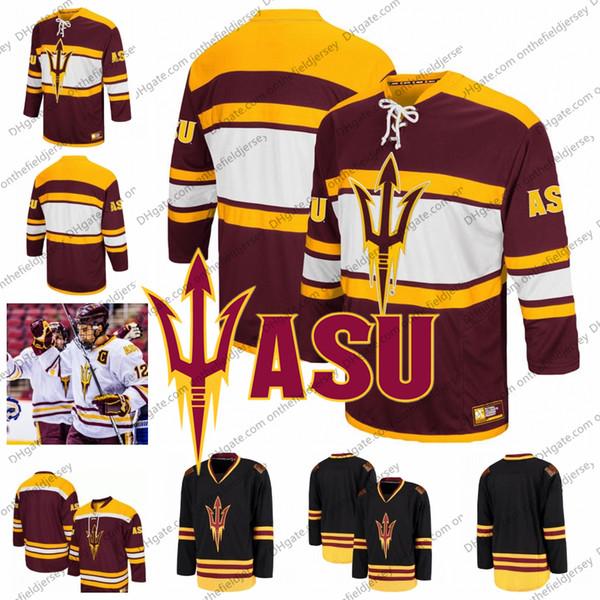 Custom Arizona State Sun Devils 12 Dylan Hollman 35 Joey Daccord Marrone rossiccio Qualsiasi nome Numero Black White College Hockey cucita Jersey S-3XL