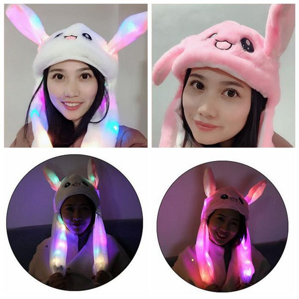 LED Plush Moving Rabbit Ears Hat Hand Pinching Bunny Ears Jumping Cap Kids Girls Women Sweet Cute Airbag Cap Party Hats CCA10994 12pcs
