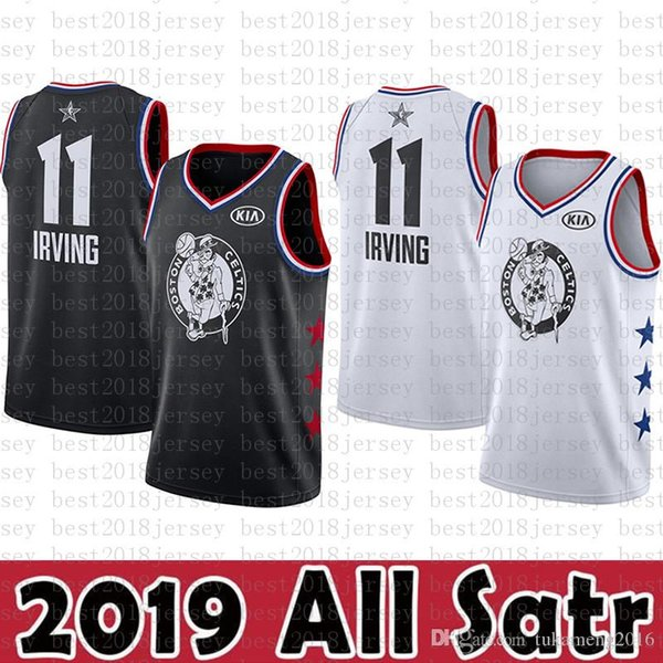 huge discount 615b9 c698c 2019 Boston Jersey Celtics 11 Kyrie # Irving Basketball Jerseys 2019 All  Star New Black White KIA Logos Lakers 23 LeBron James From Best2018jersey,  ...