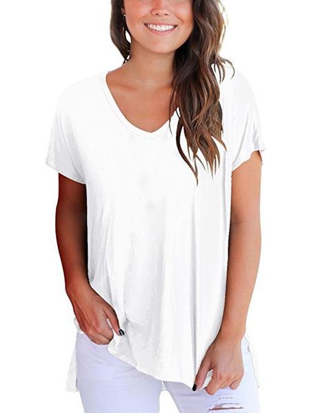 Casual Açık Yan T-shirt Katı Renk Kısa Kollu V Boyun Tops Son Tasarım Basit Stil 10 Renkler Yüksek Düşük Gevşek Kadın T Gömlek