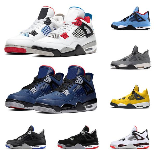 2020 zapatos de baloncesto del mens 4s 4 Lo que el leal criado azul gris fresco gato negro puro dinero cemento blanco hombres entrenador deportivo zapatillas de deporte