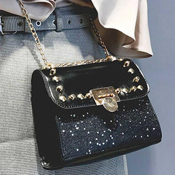 New Korean Style Versatile Shoulder Chain Bag Messenger Crossbody Hand Bags Chic Chains Bag Vintage Handbag Pu For Women Girls