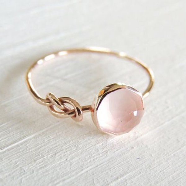 Dainty Pink Stone Ring Gold Color Round Moonstone Knot Rings for Women Gifts Engagement Jewelry Princess Ring Femme Anel L5X701