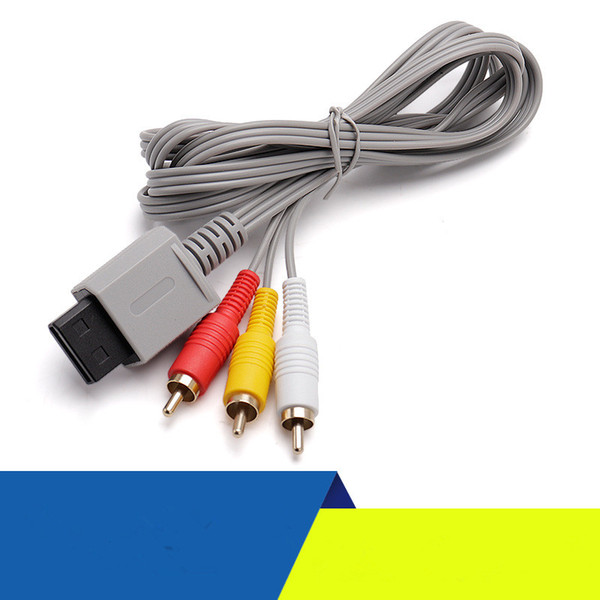 top popular High quality WII   WII U AV cable 1.8 meters gray gold-plated cable Game Accessories dhl free 2021
