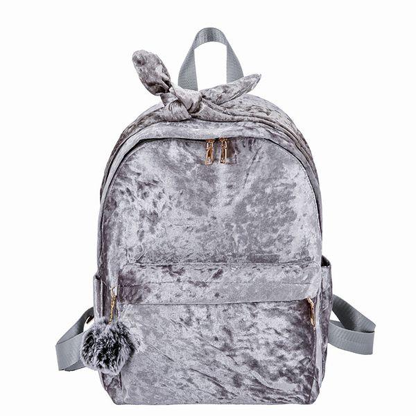 Miyahouse сплошной цвет женщин рюкзак с бантом велюр дизайн дамы рюкзак с пухом мяч мягкий дизайн женская школьная сумка
