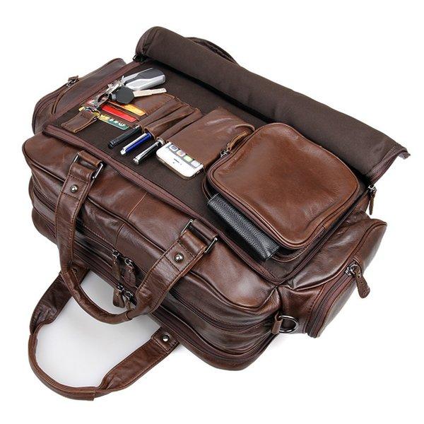 Genuine Leather Casual Big Men Leather Handbag S648-40 Vintage Messenger Shoulder Bags Briefcases Bags Laptop