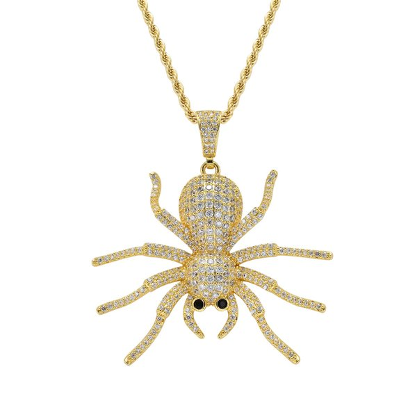 High Quality Hip Hop Jewelry Iced Out Spider Pendant Necklace For Men Women Gifts Heart Necklace