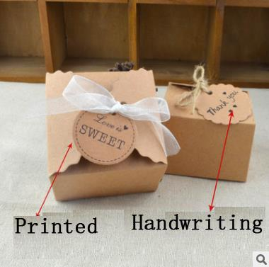 Vintage Retro Mini Kraft Paper Box Wedding Gift Favor Boxes Party Candy Box Packaging with Ribbon and Tag