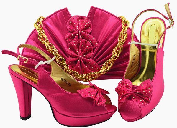 Beautiful fuchsia women pumps and bag set with butterfly design african shoes match handbag for dress MM1079,heel 11.5cm