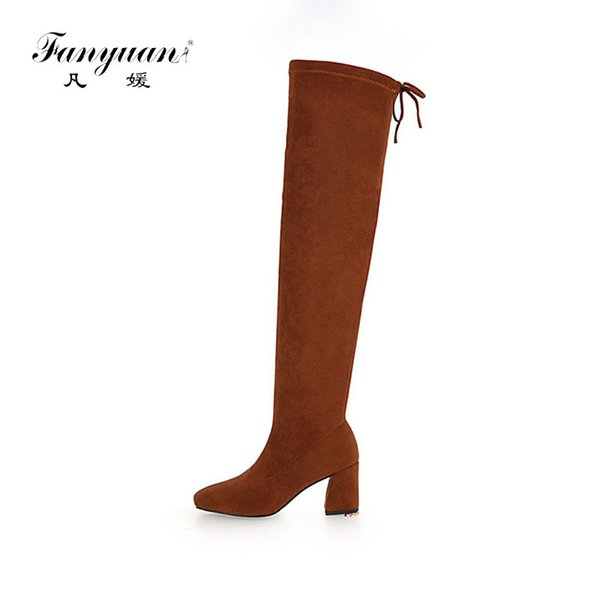 Fanyuan Hoof High Heel Over-the-Knee Boots Sexy Lace Up Slim-fit thigh boots Winter Women Shoes Casual Solid Fashion