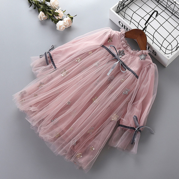 Girl princess party dresses baby girl bow knot star Sequin dress spring autumn children clothing for 2-8 years old kids clothes