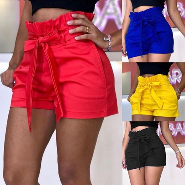2019 tallas grandes mujer playa de verano de color sólido con volantes cintura alta vendaje ropa para mujer pantalones cortos sueltos ocasionales pantalones cortos