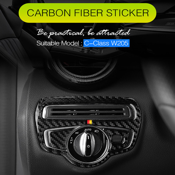 For Mercedes C Class W205 GLC Car Styling Carbon Fiber Door Air Outlet Knob Button Cover Interior Trim Frame Emblem Sticker Decal