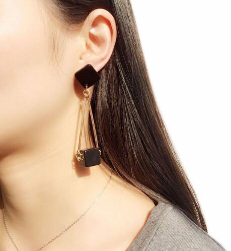 new hot Korean version tassel series polished stone block temperament ear stud personality simple fashion classic exquisite elegance