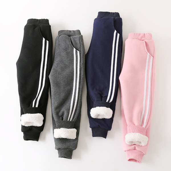 New Arrival Winter Cotton Kids Pants Boy Girls Striped Casual Sport Pants Grey Thicken Flannel Warm Long Trousers Children Clothes 110-160cm