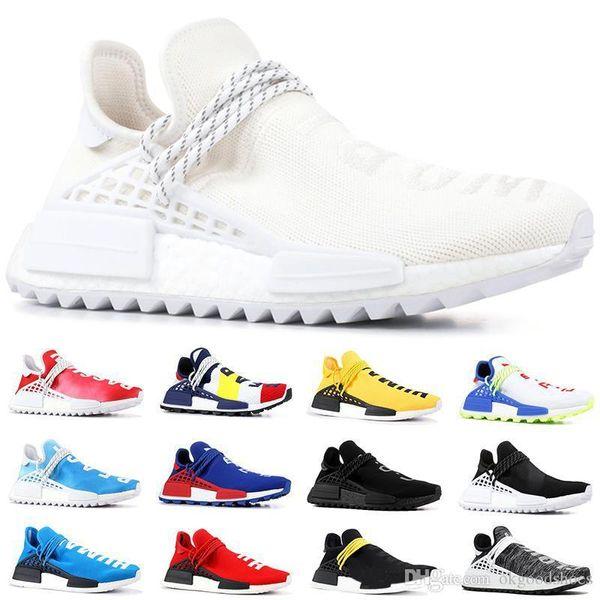 NMD Human Race Trail Running Shoes Men Women Pharrell Williams HU Runner Nerd Black White Cream Yellow Trainer Sports Sneakers Size 5.5 11 Hiking