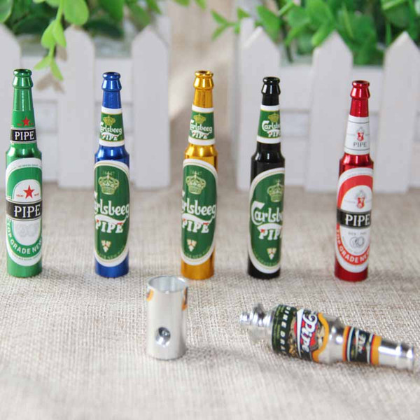 Mini Beer Smoke Metal Pipes Portable Creative Smoking Pipe Tobacco Pipes Gifts Grinder smoking accessories 6 colors Pipes 6pcs/set