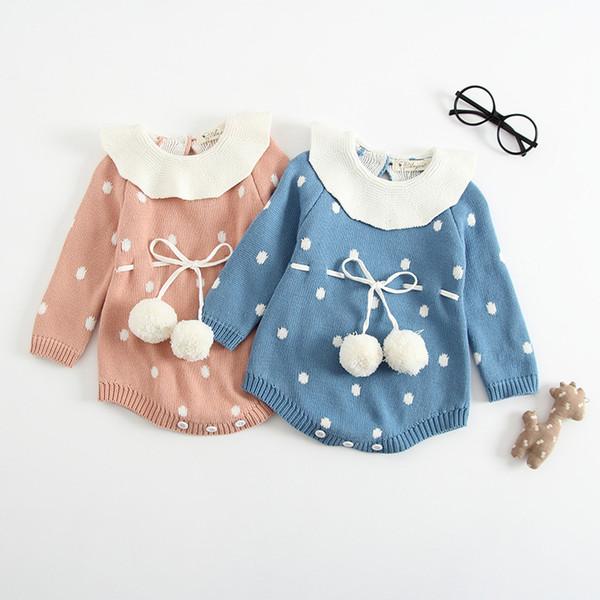 Infant Girls Knit Romper 2+ Manga Larga Lotus Leaf Collar Dot Patchwork Lana Jumpsuit Cintura Banda Elástica Niños Diseñador Onesies Trajes 0-3T