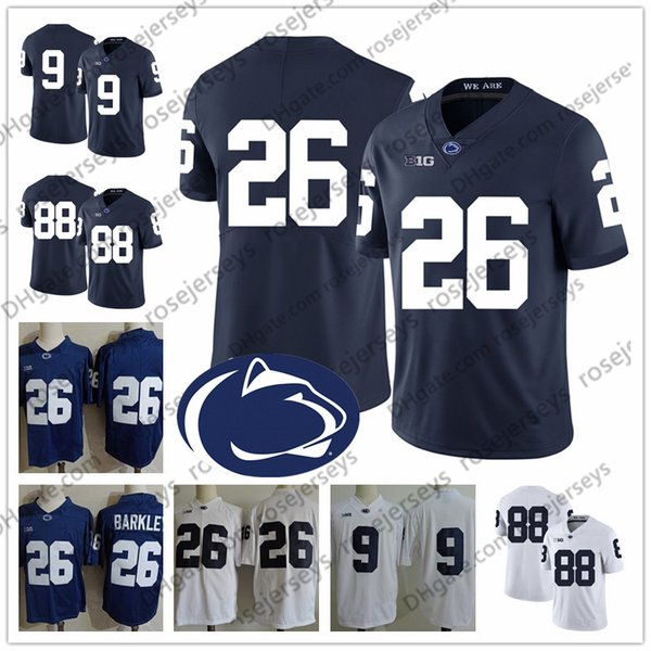 2019 Penn State Nittany Lions # 9 Trace McSorley Joey Porter Jr. Ta'Quan Roberson 48 CJ Holmes 84 Benjamin Wilson TaQuan Jersey blanco azul