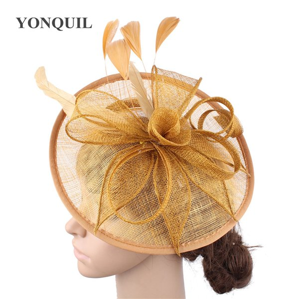 Gold hats feather flower fascinators for party hats bridal hair accessories wedding cocktail High quality SYF205