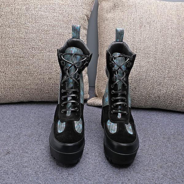 Stazione europea 2019 New Winter breve BootsLV spessore con tacco alto in pelle Martin stivali vintage fondo spesso Locomotive Boots Exquisite