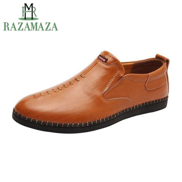 e72798c12f RAZAMAZA Homens Sapatos de Couro Casuais de Couro Real Handmade  Deslizamento Em Sapatos Mocassim Moda Data
