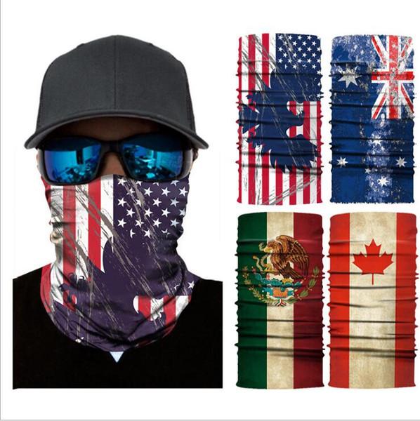 Trendy Magia Bandana Multifuncional Bandeira Impressão Equitação Máscara Causal Turban Moda Ao Ar Livre Máscaras de Ciclismo Cachecóis Motocicleta Wraps LT1249