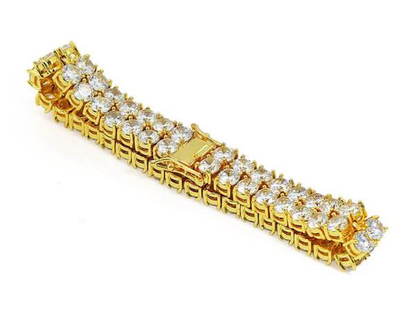Bracelet en or micro-zircon explosif à double rangée pour homme