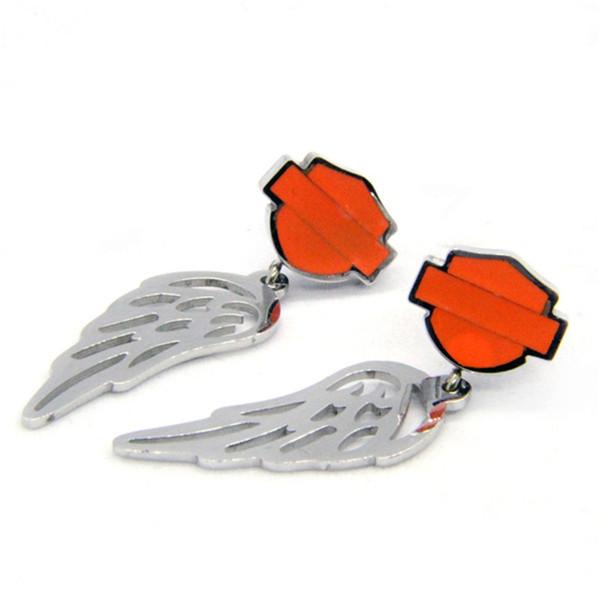 2pairs / lot diseño personal naranja negro shiled pendientes del estilo del motorista 316L pendientes de acero inoxidable de joyería de moda las niñas alas motorbiker