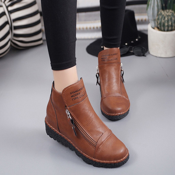 Women's Ankle Zipper Increase Vintage Genuine Leather Shoes for Women British Style Round Toe Caramel Short Boots Shoes