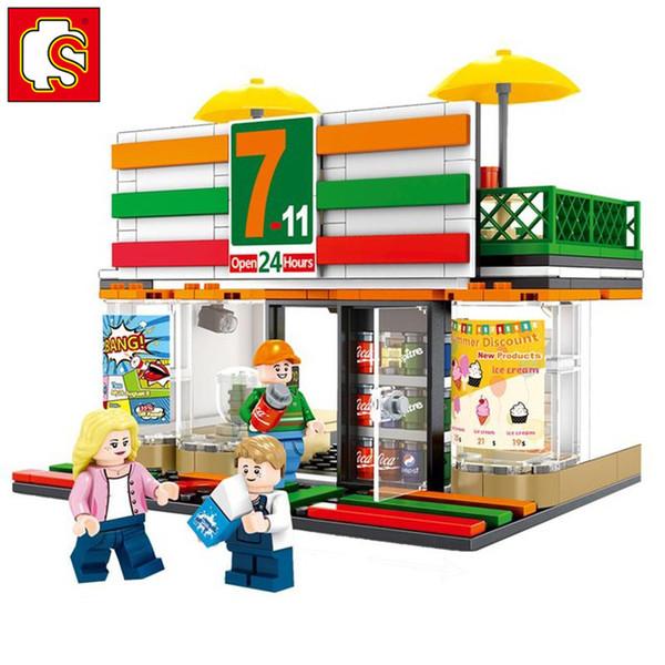 SEMBO City Street Mini-food Centre commercial Magasin de café Amis Architecture Retail Shop Voir le modèle Ensemble Building Blocks Jouet