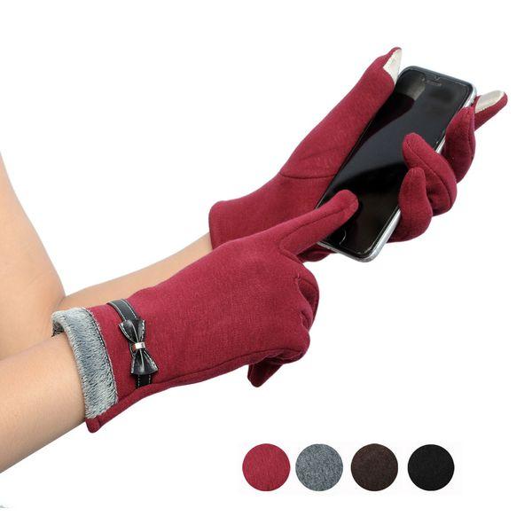 Elegante Damen Handschuhe Bildschirm Winter Warme Bogen Weiche Handgelenk Handschuhe Handschuhe Kaschmir Vollfinger guantes mujer handschoenen D48