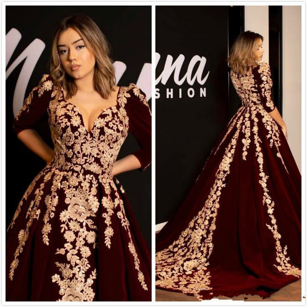 2019 Sexy Burgundy Lace Evening Dresses Sweetheart Half Sleeves Velvet Prom Dresses Vintage Elegant Formal Party Bridesmaid Pageant Gowns