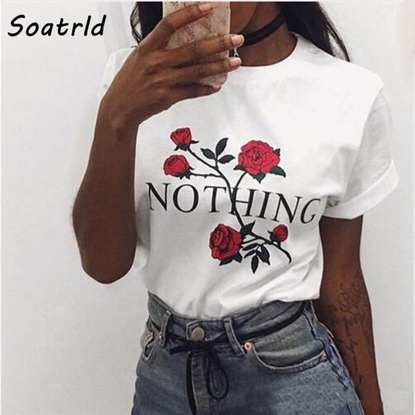 Nothing Letter Rose Print Female T Shirt Harajuku T-Shirts Women 2017 New Summer Short Sleeve Casual Clothing Punk Tee