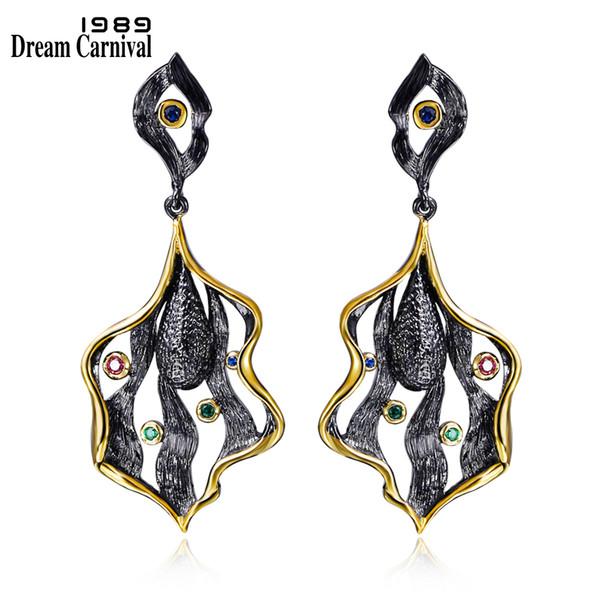 Dreamcarnival 1989 Elegant Leaf Design Vintage Style Earings Black Gold Color Cz Drop Brincos Zirconia Party Earrings Ze52807 C19041101