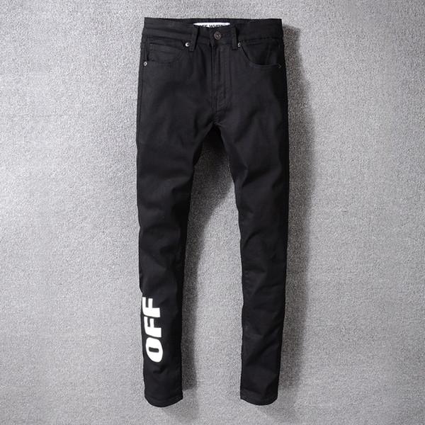 High Street New Fashion Men Jeans Simples Preto BRANCO Branco Impresso Mostrado Calças Stretch 29-40 Tamanho