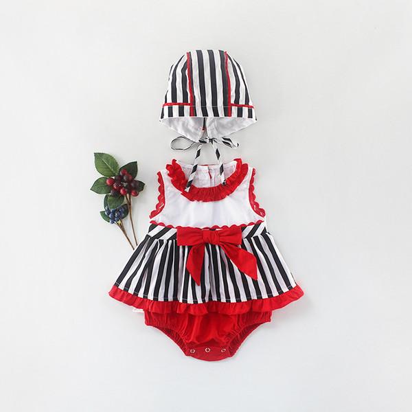 Neugeborenes Baby Sommer Kleidung HatTriangular Klettern Schmetterling Knoten Prinzessin gestreiften Dreieck Hardy Rock 2pcs Full Moon Baby