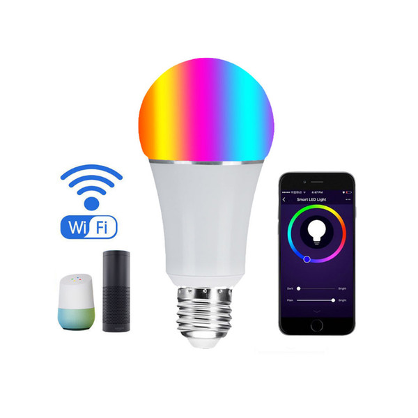 LED Bulb Light WIFI Smart Multi-Color Dimmable 7W RGB LED Bulbs Work Voice Control Remote with Alexa Google Home Compatible IOS android