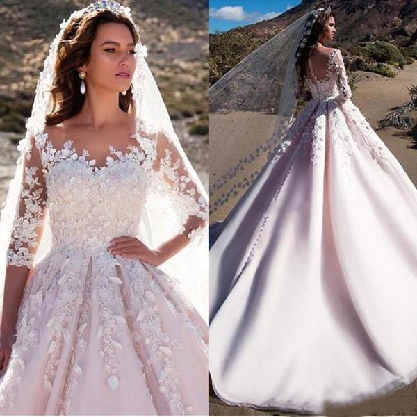 Vestidos A linha de vestidos de casamento do jardim Boho Plus Size Sheer Sheer Neck meia manga vestidos de noiva de casamento personalizado com apliques