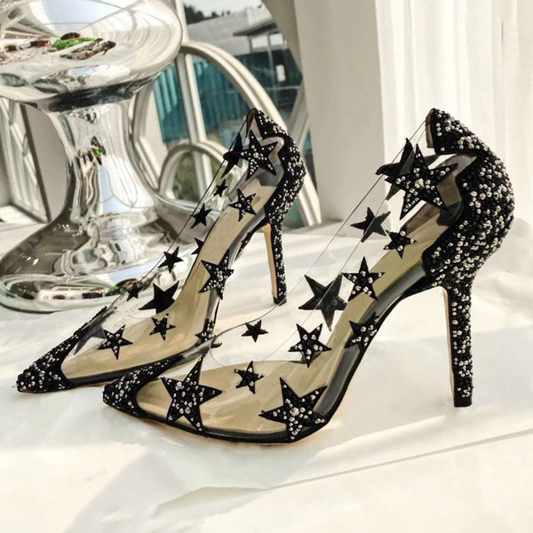 PVC Star Women Pointy Toe Pumps Crystals Embellished Dress Wedding Shoes High Heels Bride Casual Shoes Chaussures Talons