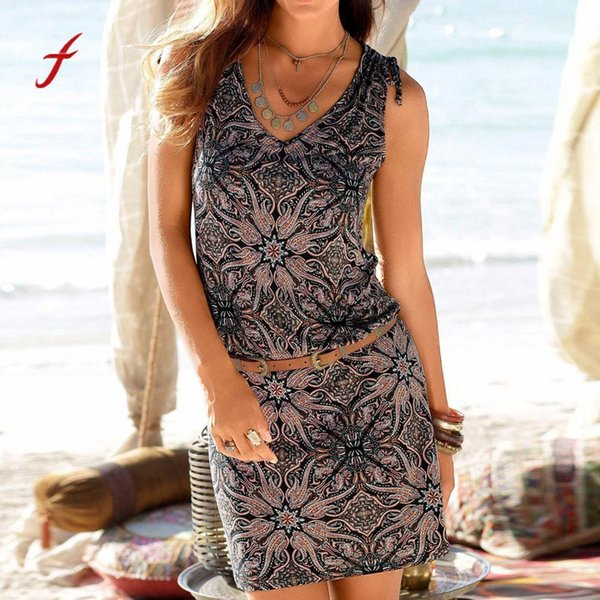 Fashion Dress Womens Casual Sleeveless Retro Print Beach Mini Dress Beach Holiday Slim Soft Touch Dress Summer New Arrival 2019 Y190514
