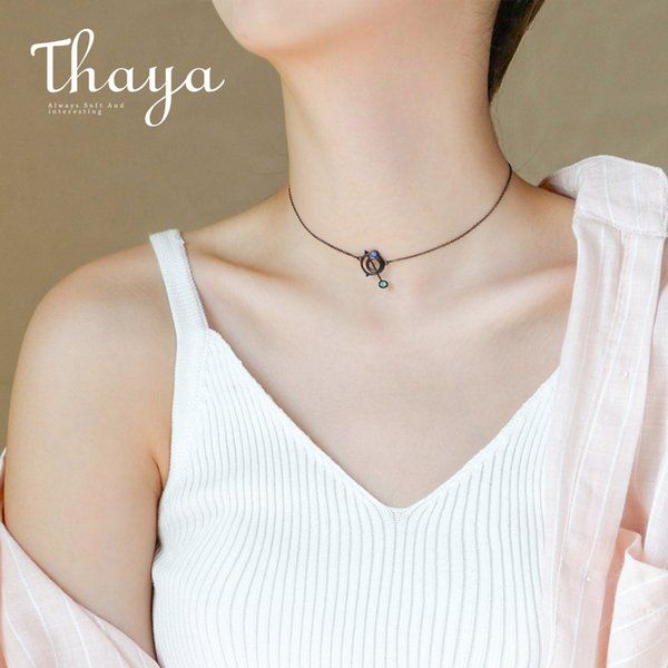 Thaya Original Design Astrograph S925 Silver Opal Pendant Necklace Black Clavicle Chain Necklace For Women Gift Simple Jewelry Y19061003