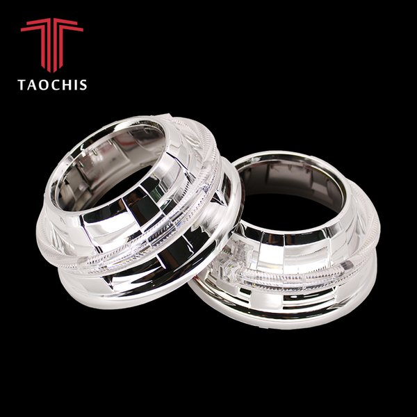 TAOCHIS G105 3.0 inches bi xenon projector lens shroud LED DRL JG car headlights chrome angel eyes white red blue yellow color
