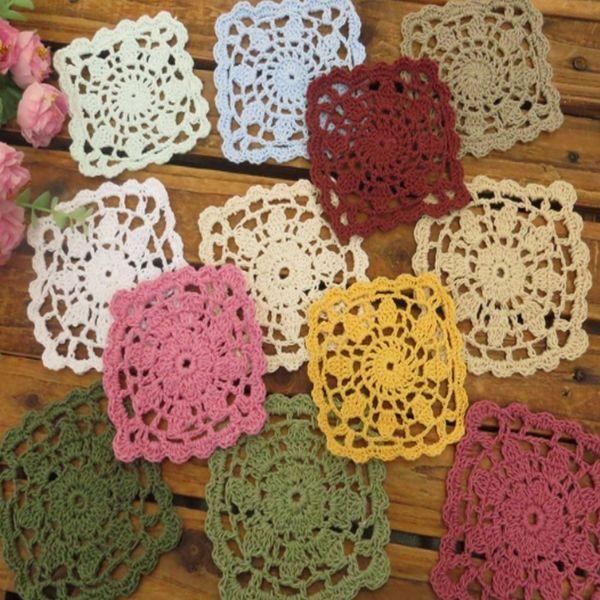 Tea coaster Hand crochet cotton line lace hook flower DIY accessories flower table mat 10cm*10cm